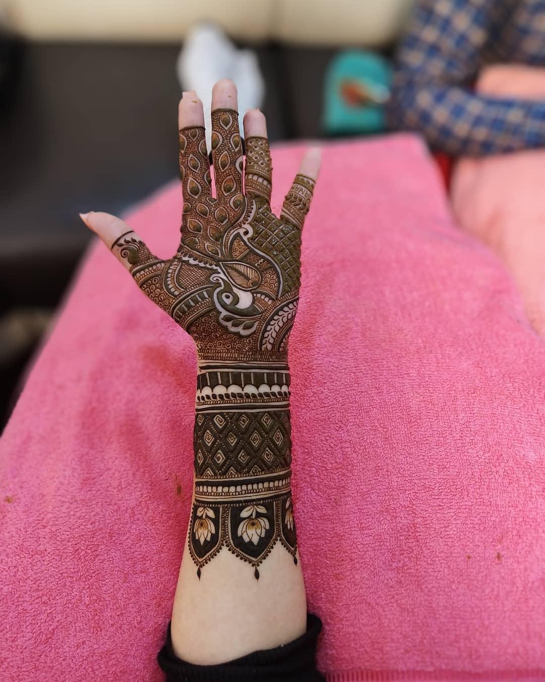 Magnificent Engagement Mehndi Design For Palm