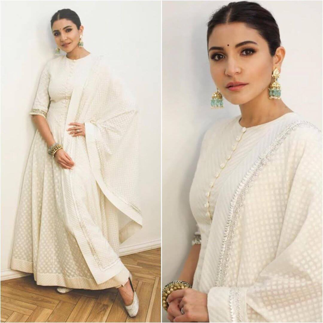 Simple white anarkali suit Ethnic wear for Rakshabandhan