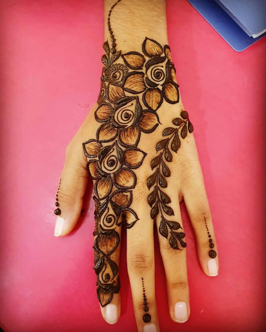 Elegant Floral Vines Mehndi for Back and Front Hand