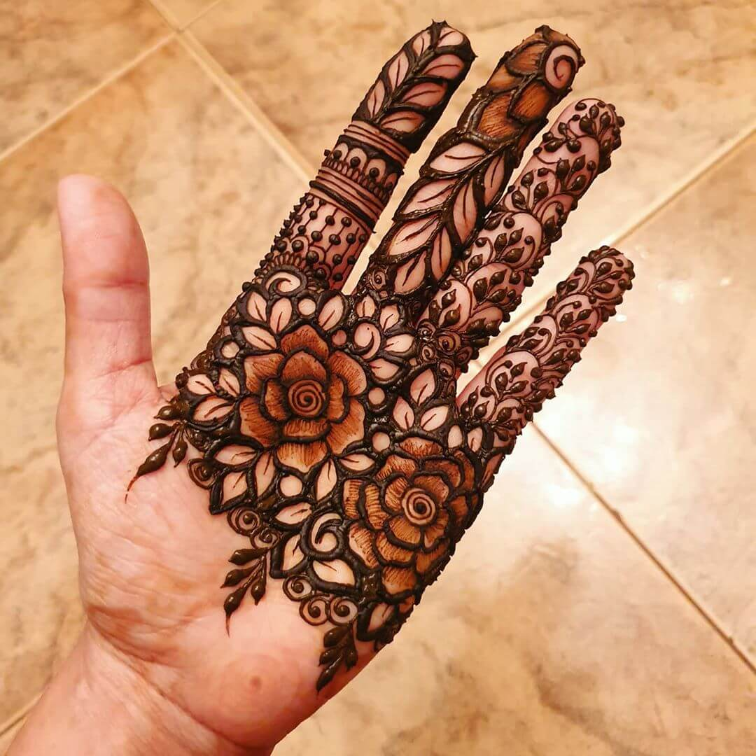 Leafy Vibes Design Mehndi for Back and Front Hand