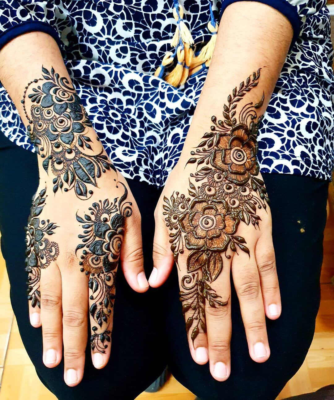 Large Floral Motifs Mehndi for Back and Front Hand
