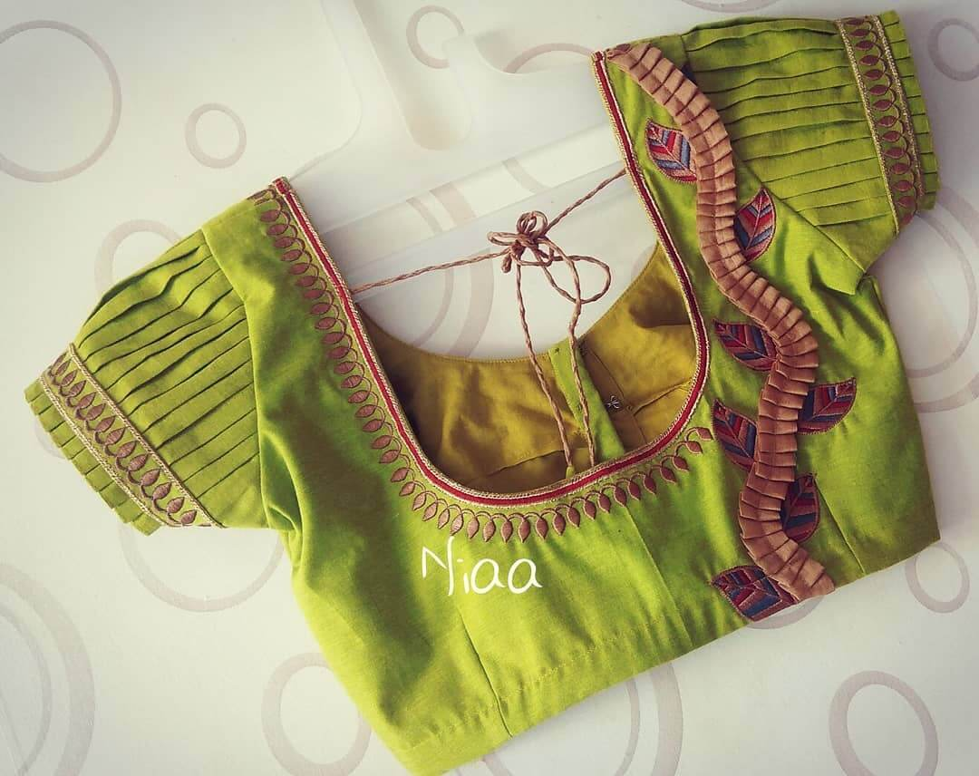 Multiple layer puff sleeves design Saree Blouse Back Neck