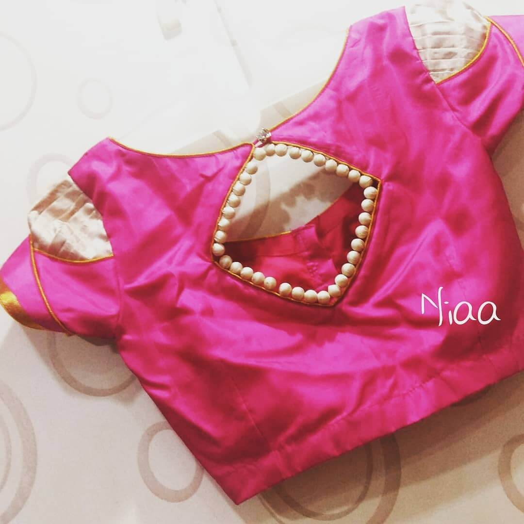 Puff sleeves Saree Blouse Back Neck Design