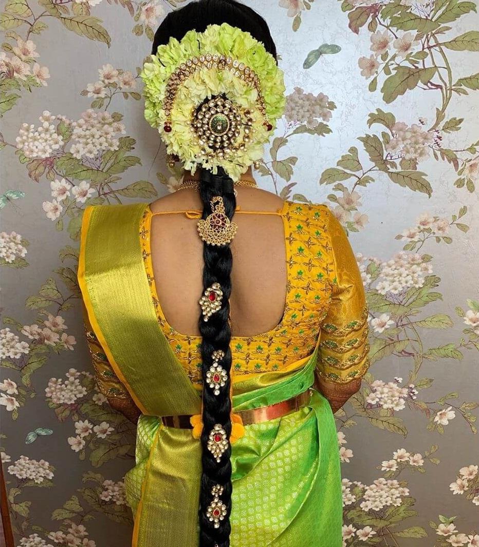 Kundan Work Jada Traditional South Indian Bridal Hairstyles