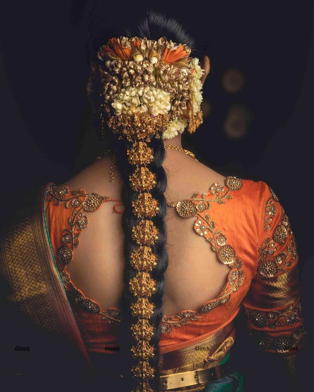 Gold Flowers Traditional South Indian Bridal Hairstyles