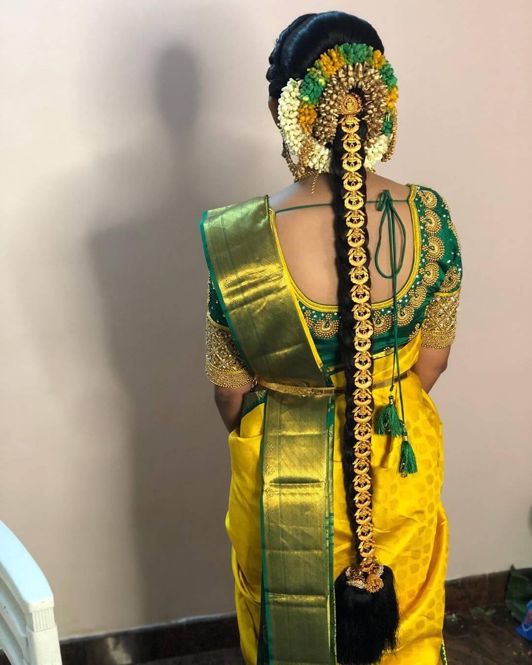 Circular Gold Jada Traditional South Indian Bridal Hairstyles