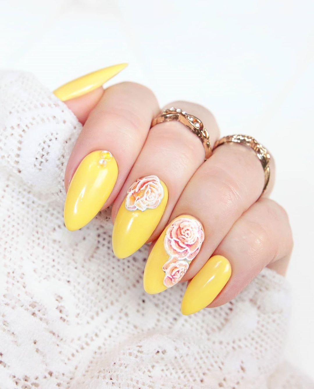 Yellow Roses Nail Art Design