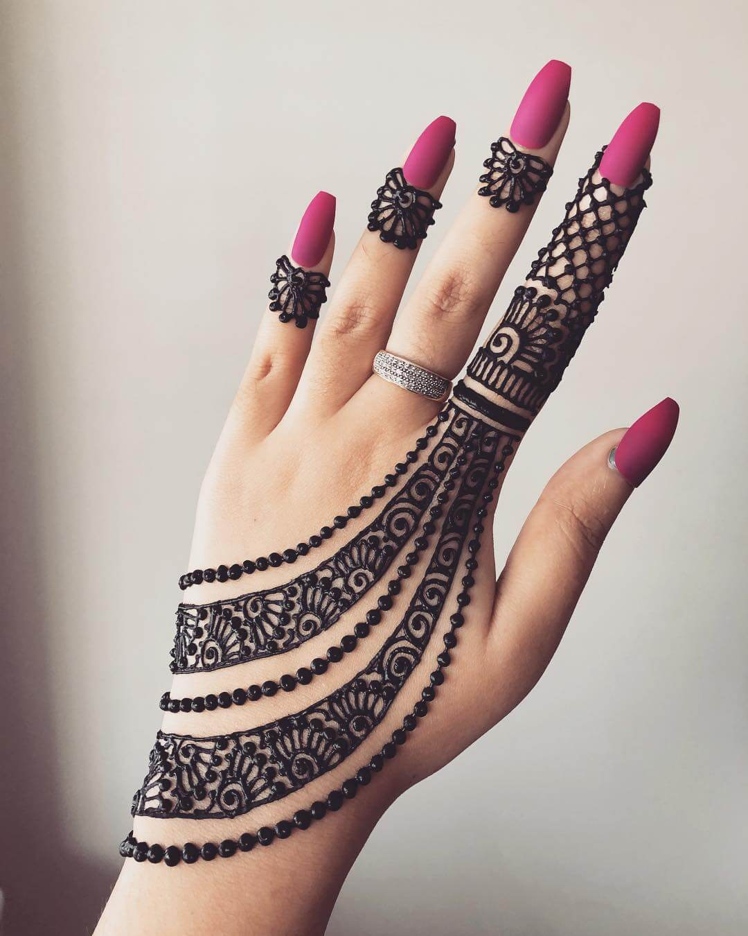 Partial Finger Beauty Beautiful Jewellery Mehndi Designs for Back Hand