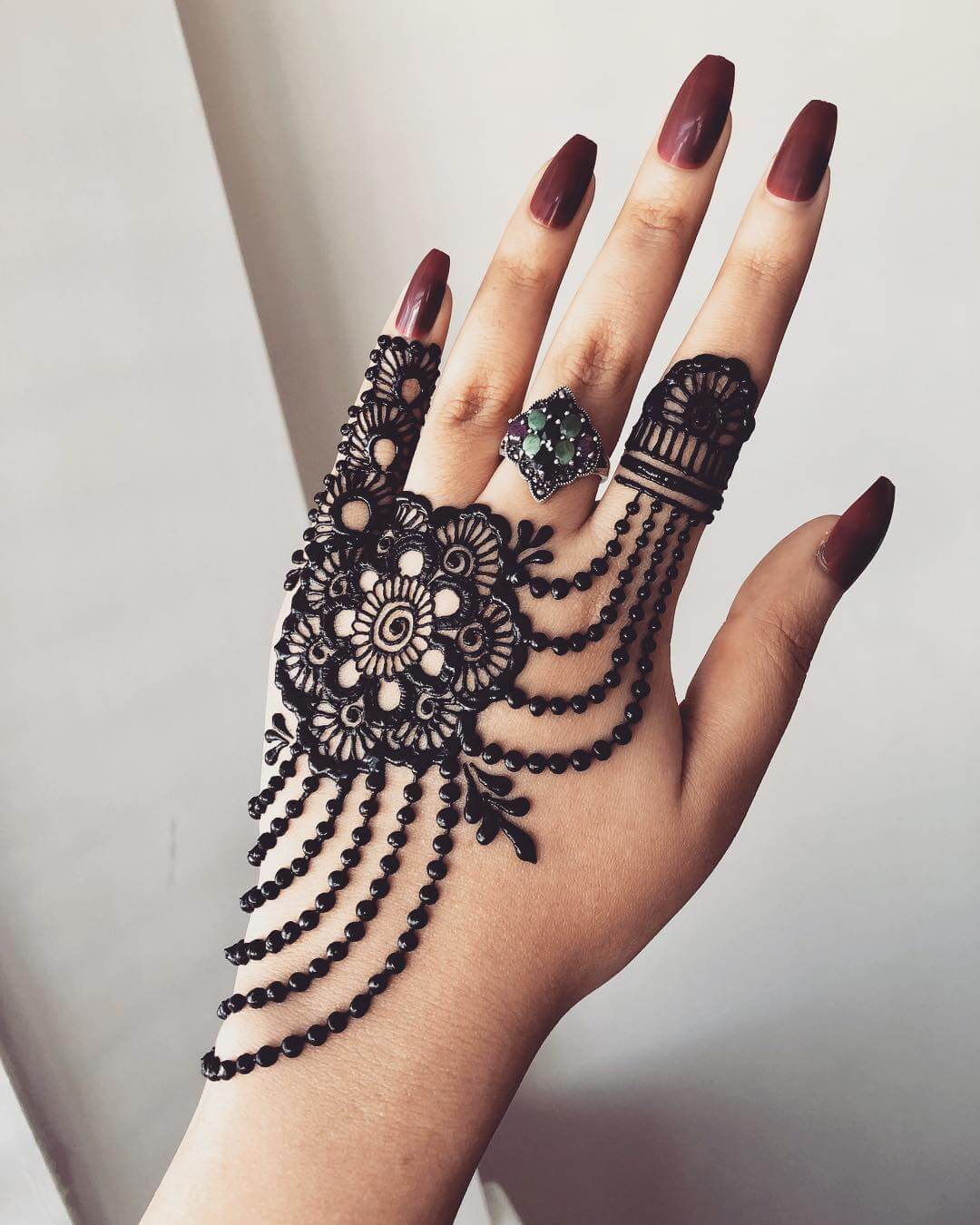 One Sided Floral Beautiful Jewellery Mehndi Designs for Back Hand