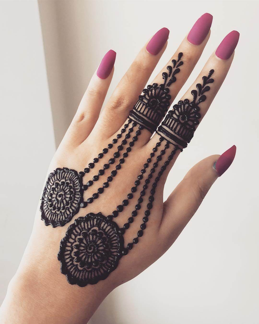 Delicate Rings Beautiful Jewellery Mehndi Designs for Back Hand
