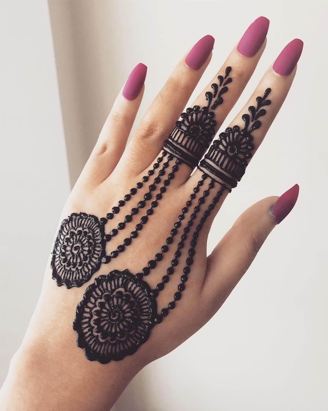 Delicate Rings Beautiful Jewellery Mehndi Designs for Back Hand