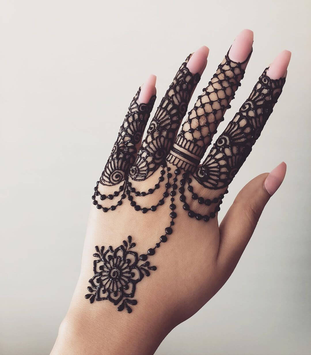 Netted and Floral Beautiful Jewellery Mehndi Designs for Back Hand