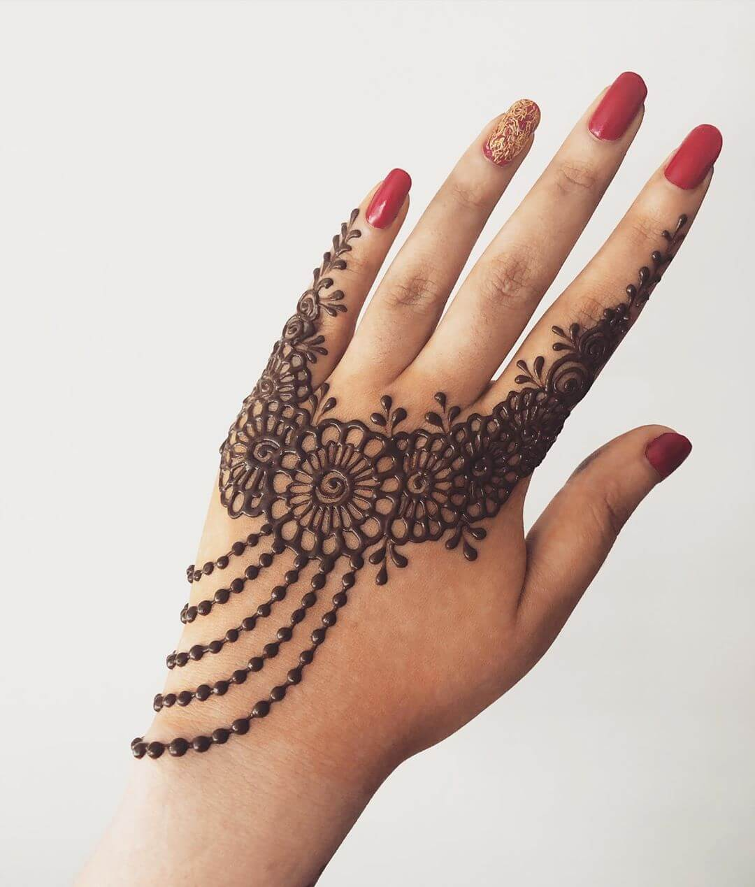Spiral Floral Arrangement Beautiful Jewellery Mehndi Designs for Back Hand
