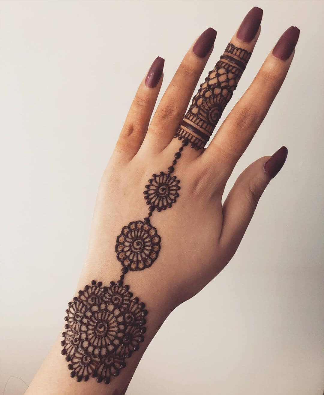 Floral Blossoms on a Finger Beautiful Jewellery Mehndi Designs for Back Hand