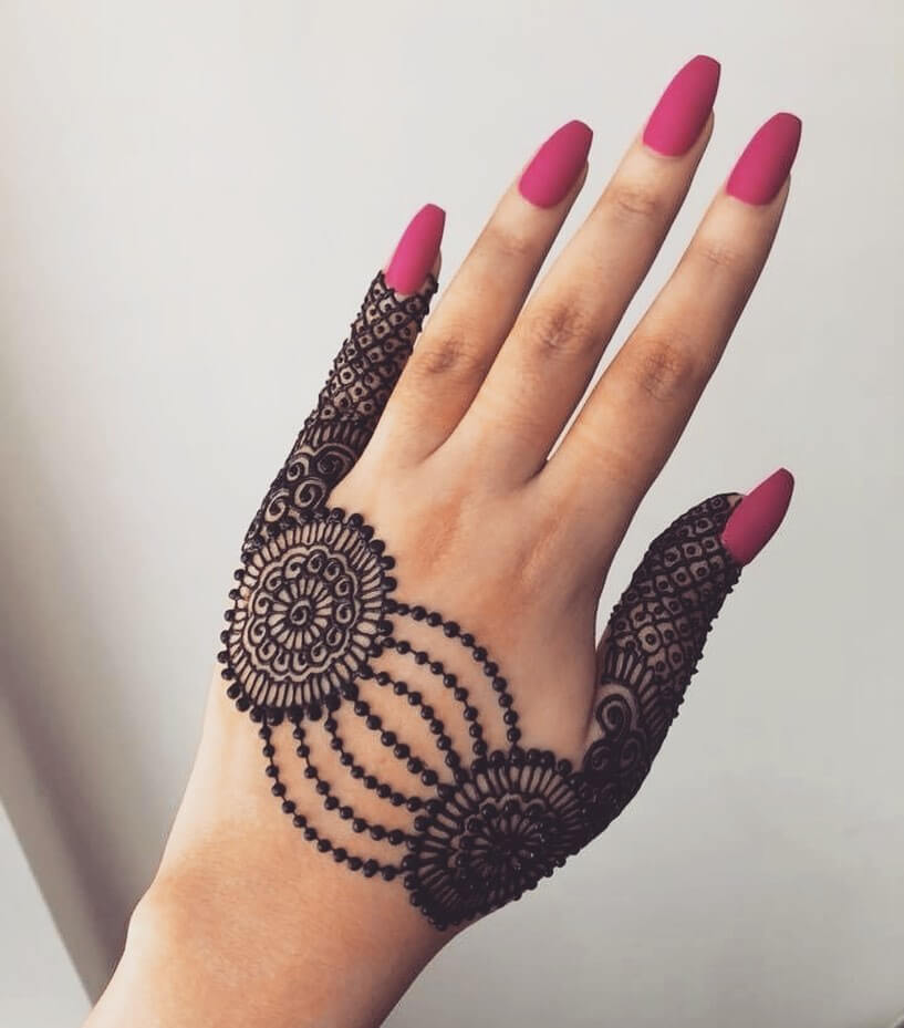 Alternate Netted Beautiful Jewellery Mehndi Designs for Back Hand