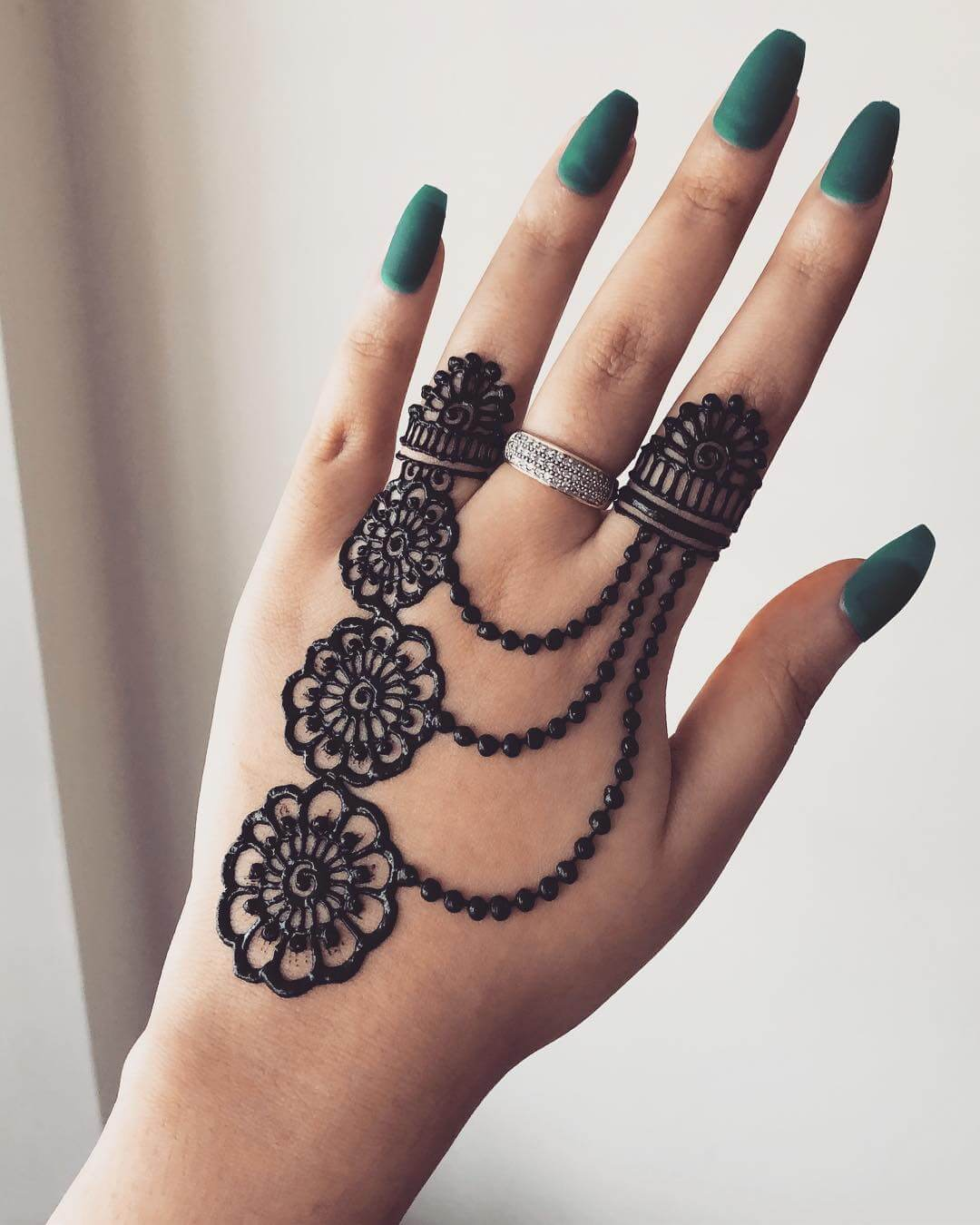 Alternate Finger Beautiful Jewellery Mehndi Designs for Back Hand