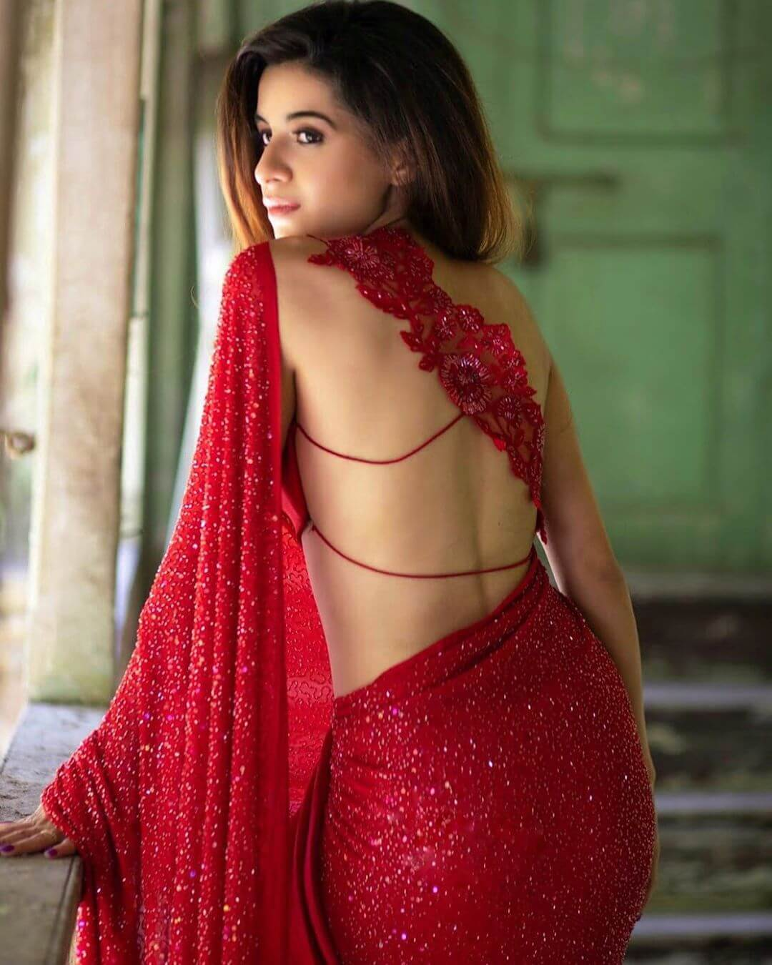 Bold Lace Back Blouse Design for Saree