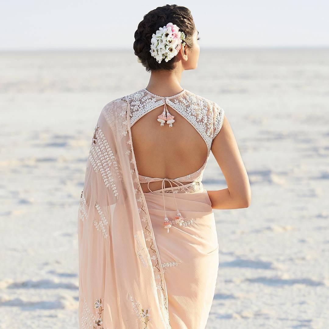 Designer Backless Drop Bold and Beautiful Blouse Back Design