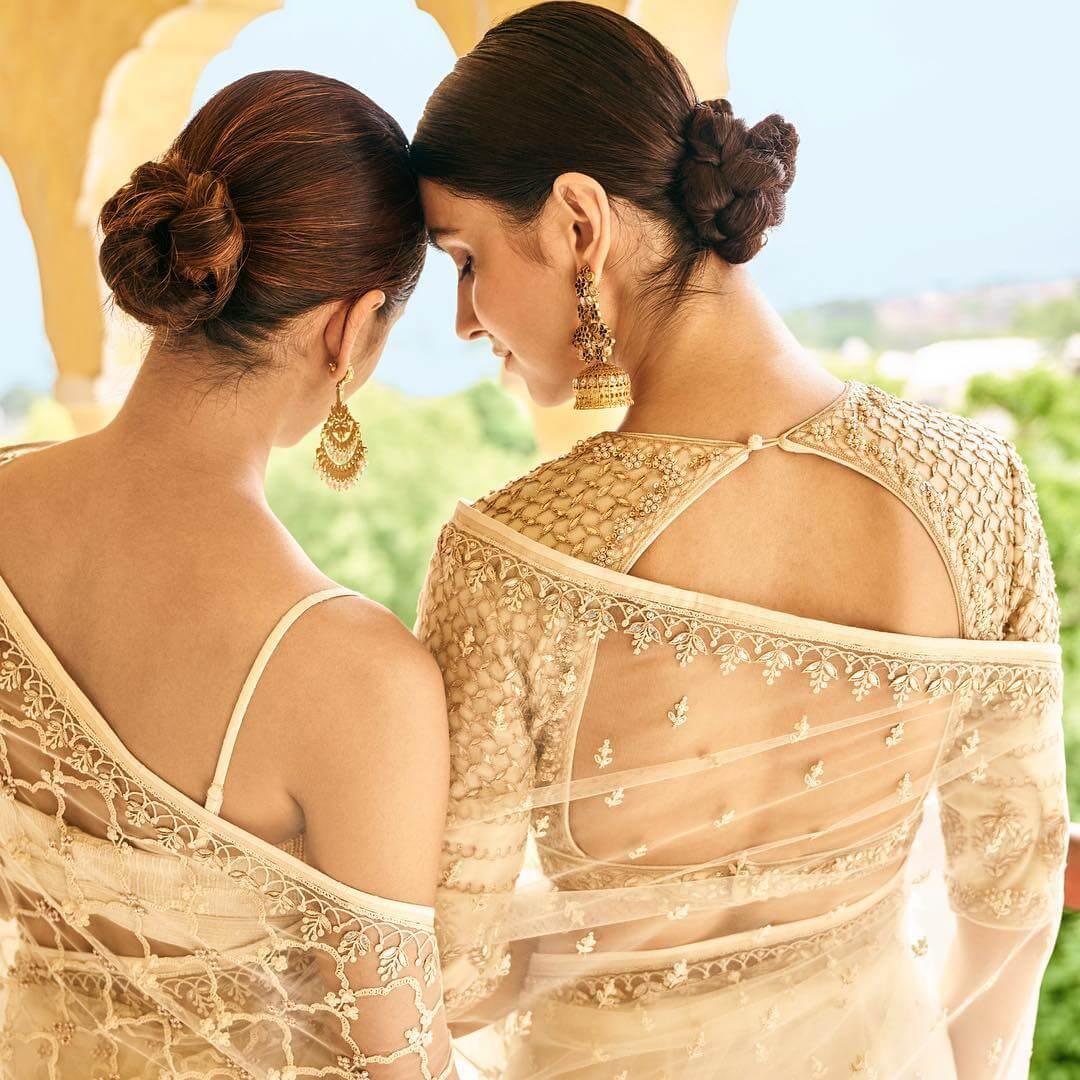 Golden Glitter Bold and Beautiful Blouse Back Design