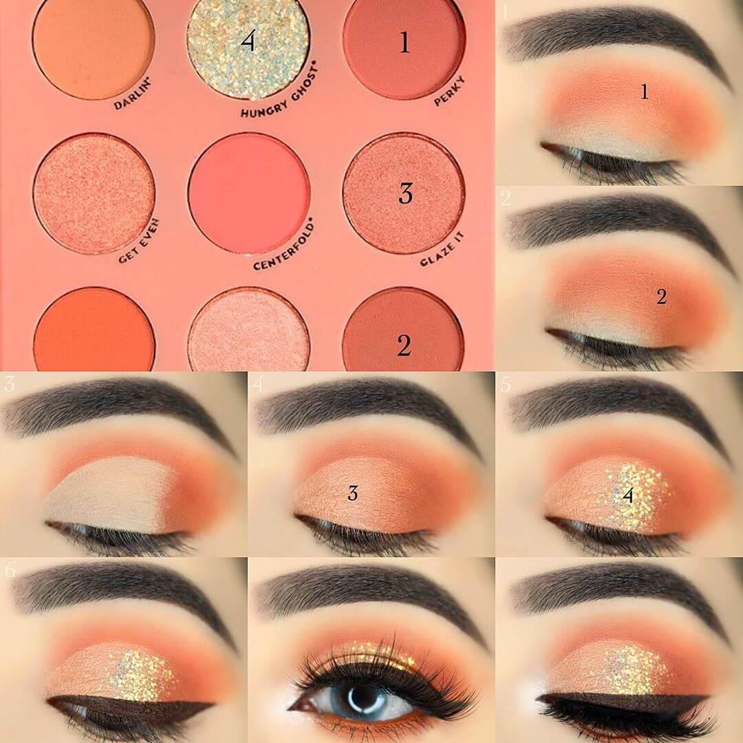 The Peachy Look Eye Makeup Step by Step Image Tutorials