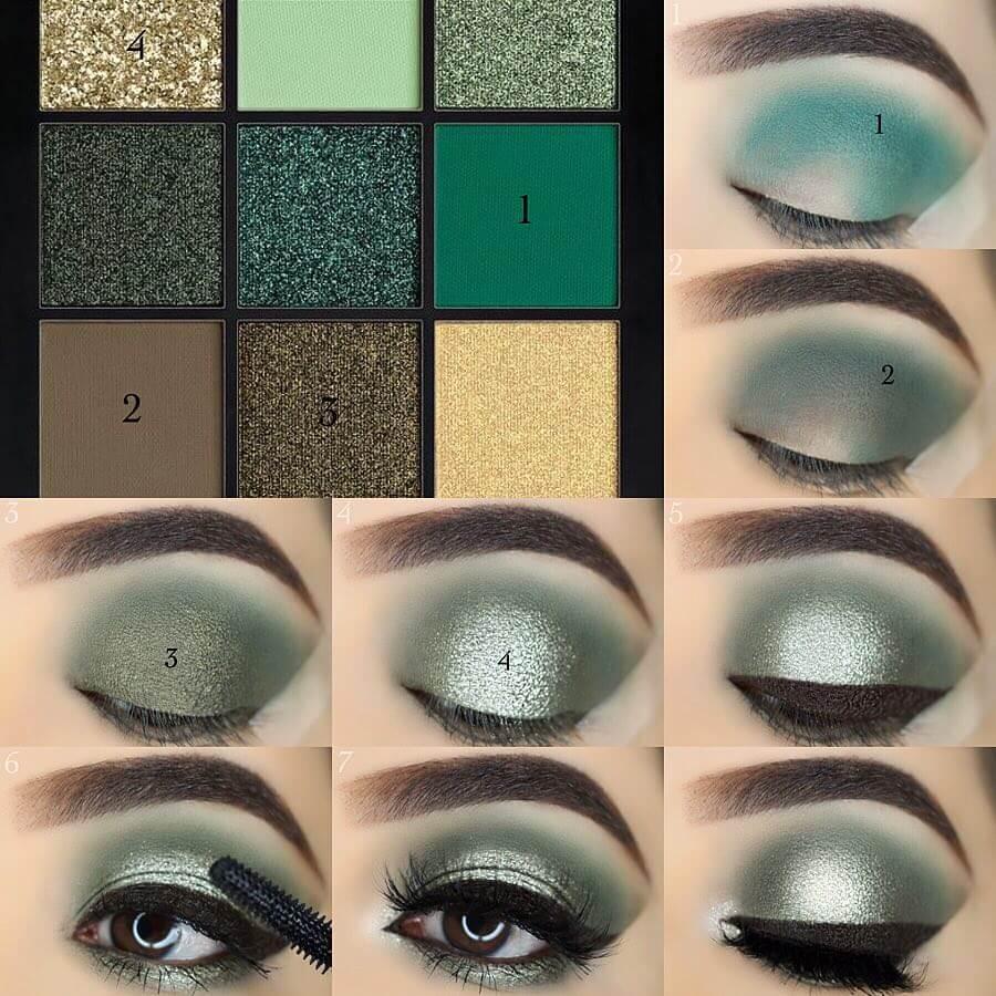 The Glittery Green Eye Makeup Pictorials For Women