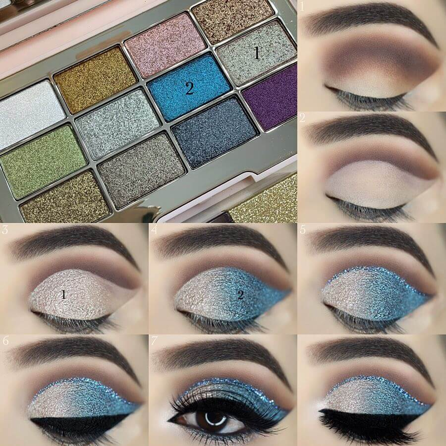 The Silvery Blue Eye Makeup Pictorials For Women