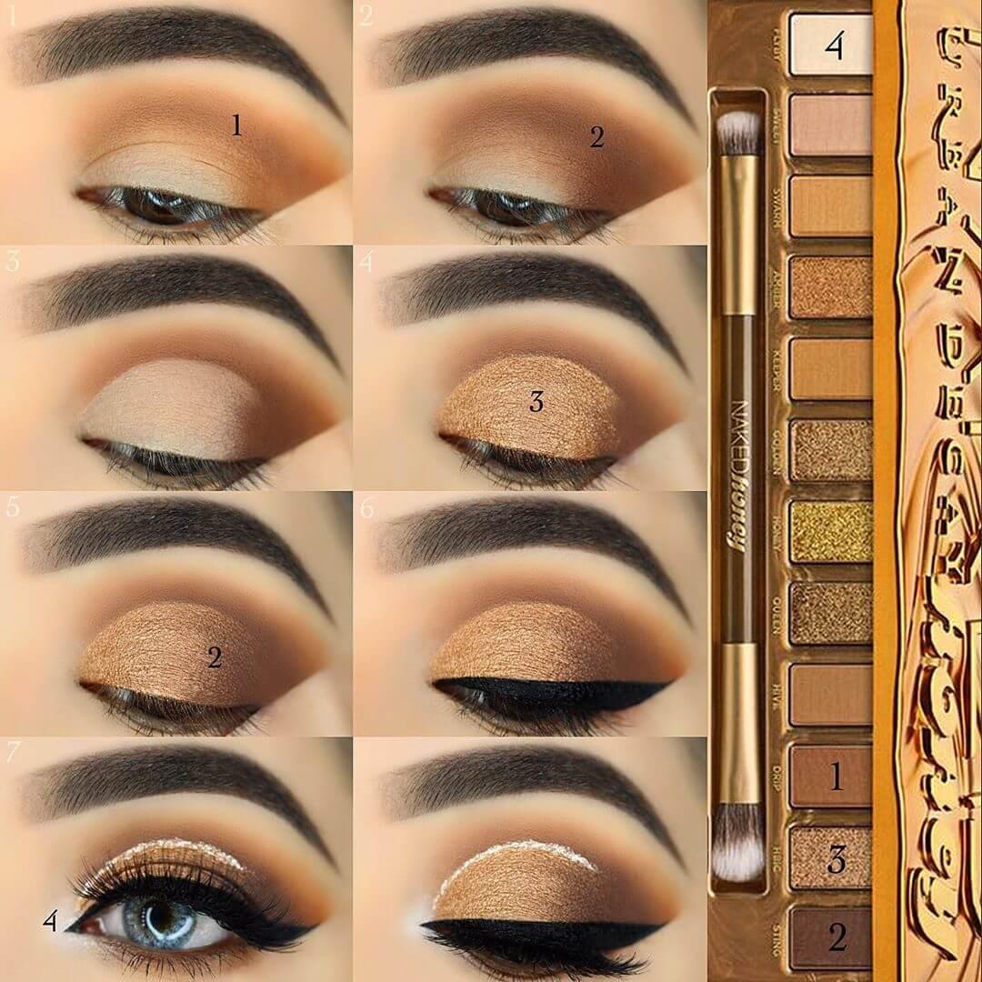 The Golden Glitter Eye Makeup Pictorials For Women