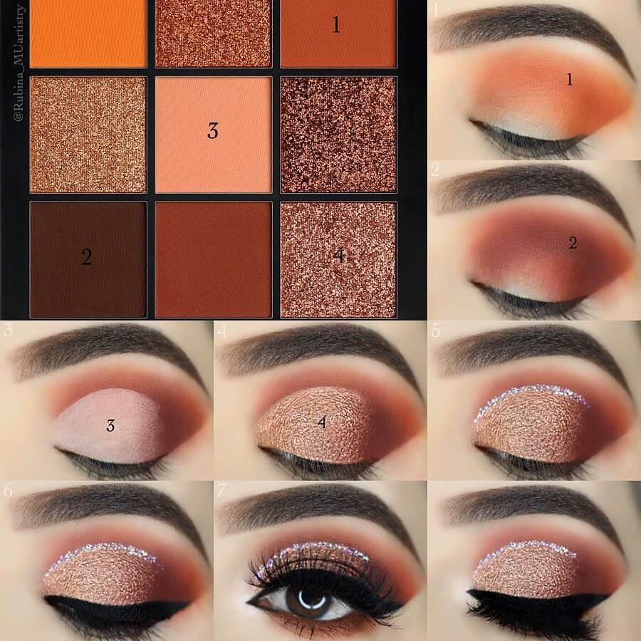 The Cinnamon Brown Look Eye Makeup Step by Step Image Tutorials