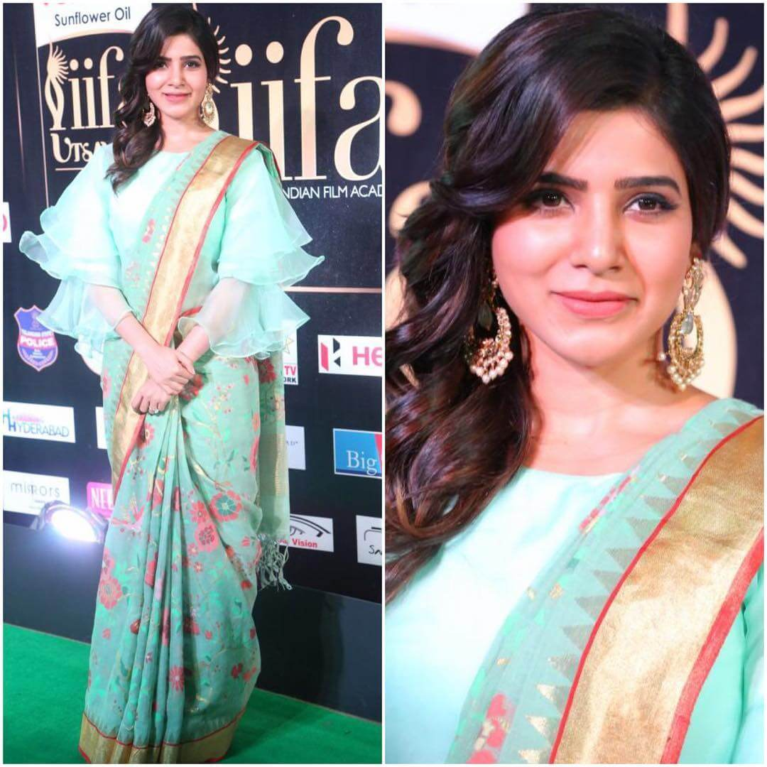 Samantha in this floral turquoise saree with stylish ruffle blouse