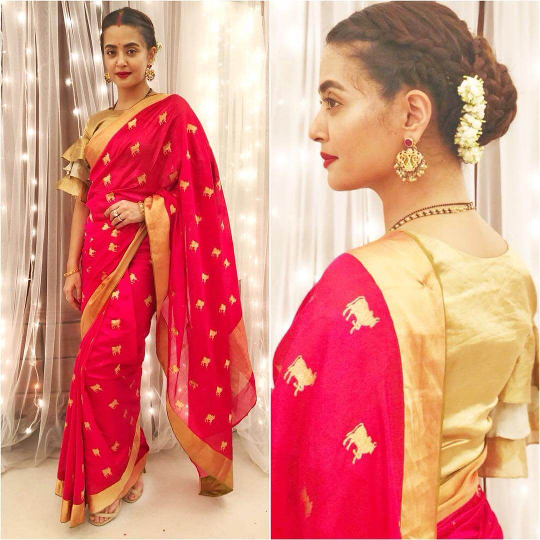 Surveen Chawla Ruffles can really change the whole styling game Blouse Designs