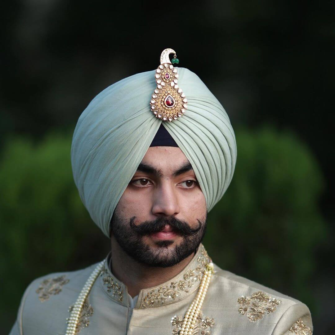 Golden Plated Red and White Stone Groom Kalgi Designs
