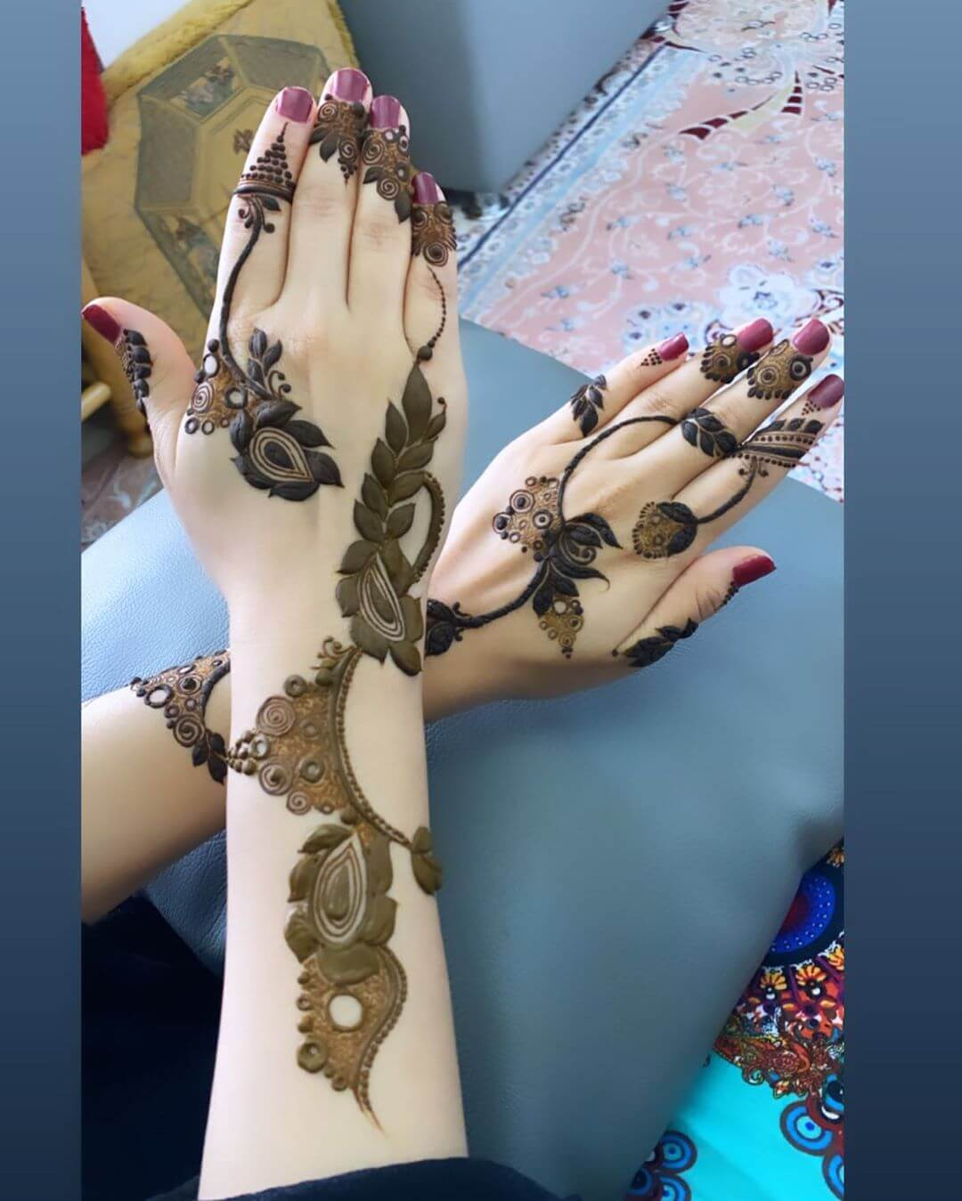 Tulips and Leafy Shades mehndi designs for back hands