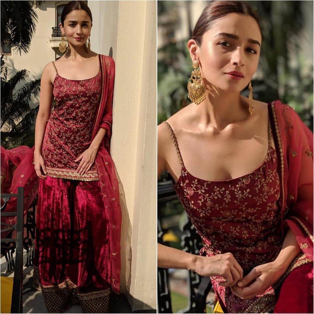 Sleeveless Maroon Velvet Sharara Latest Bollywood Inspired Diwali Outfits