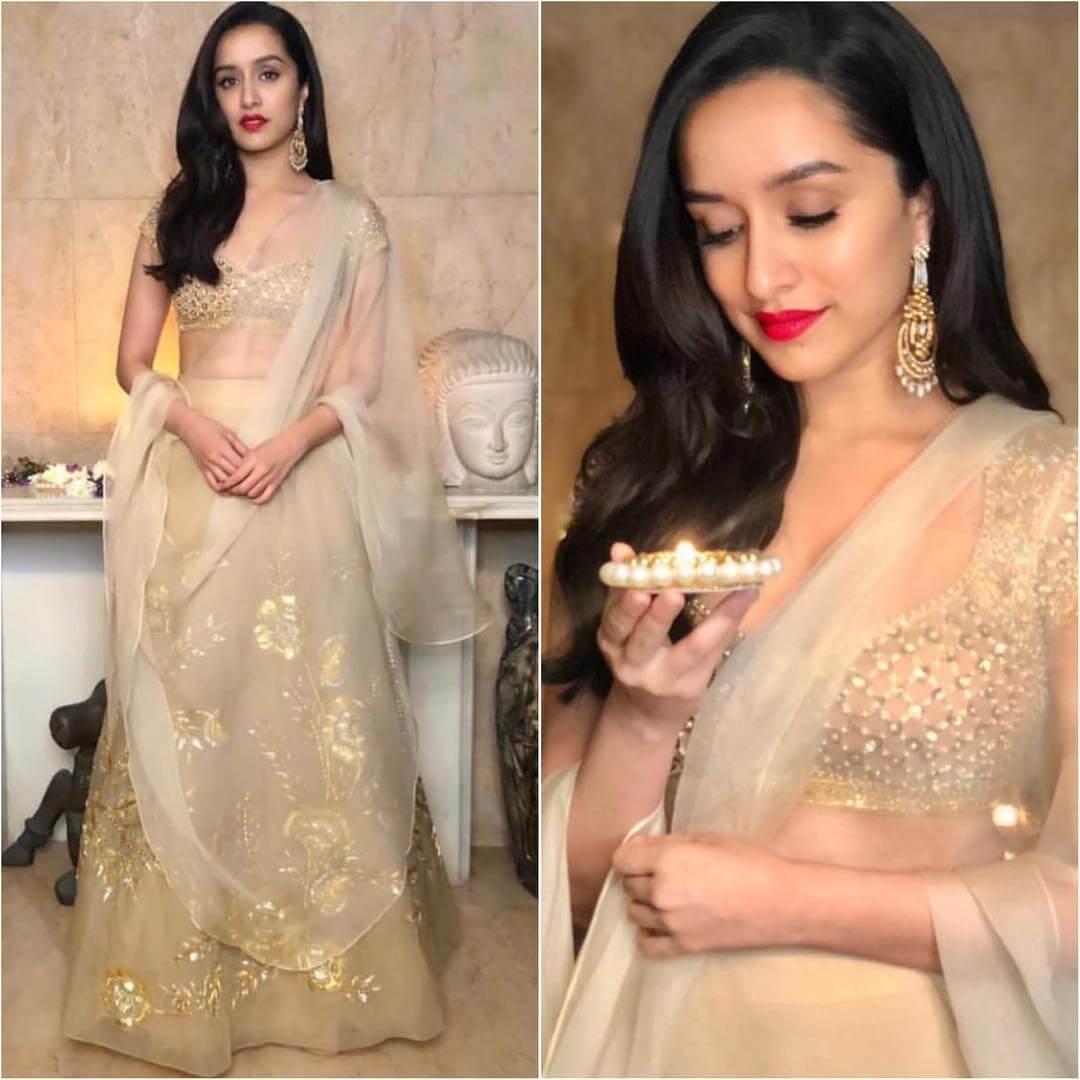 Graceful Golden Net Lehenga Latest Bollywood Inspired Diwali Outfits