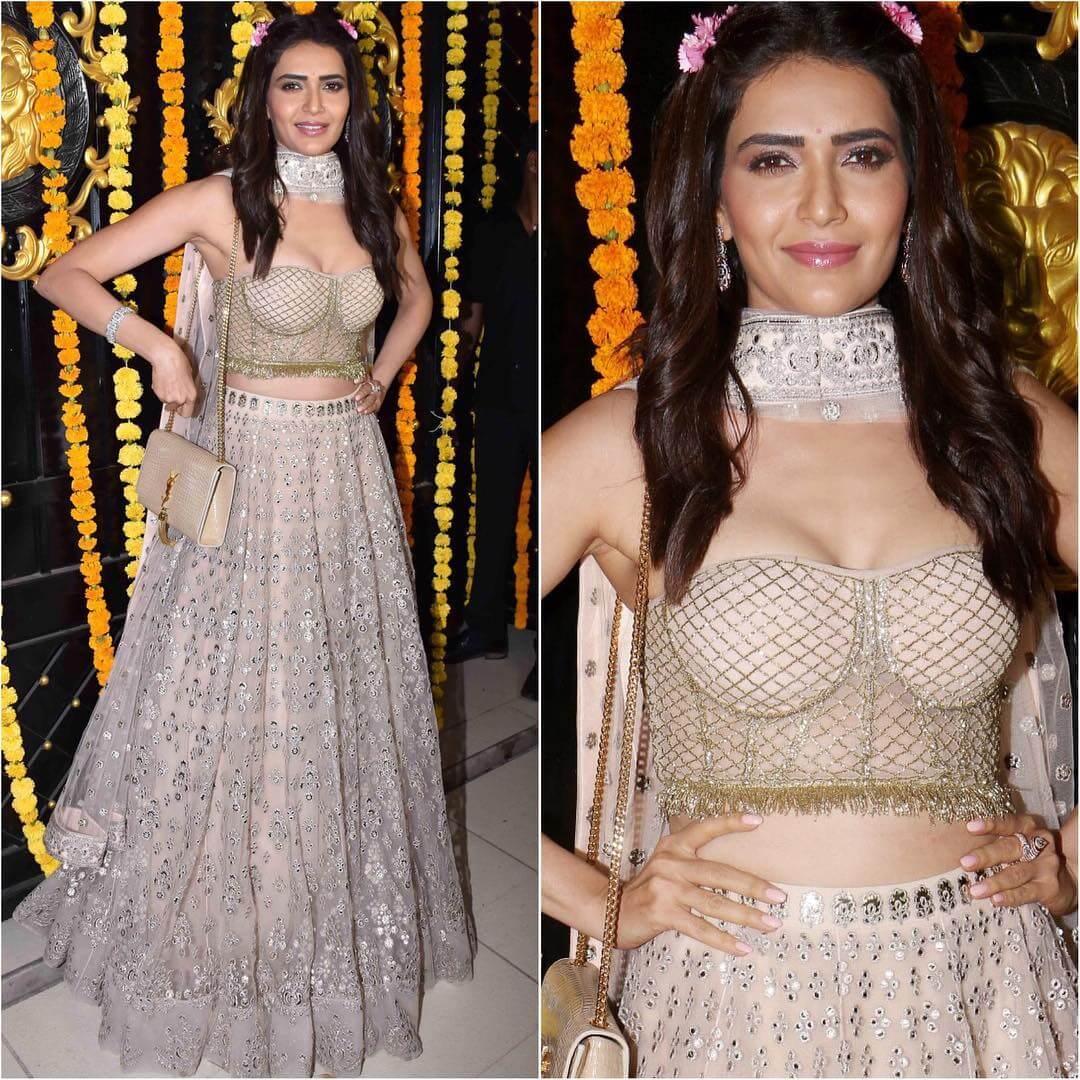 Bold Nude Mirrorwork Lehenga Latest Bollywood Inspired Diwali Outfits
