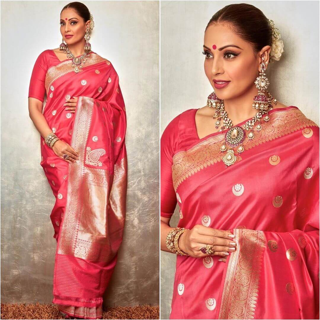 Divine Red Silk Saree Latest Bollywood Inspired Diwali Outfits