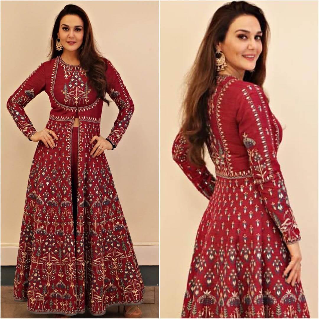 Designer Front Slit Maroon Anarkali Latest Bollywood Inspired Diwali Outfits