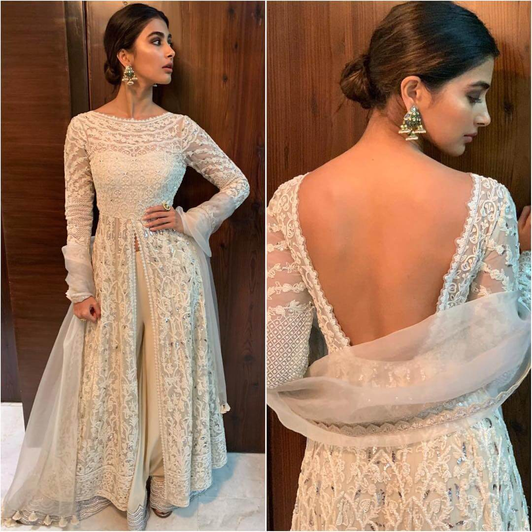 Backless Floor Length White Anarkali Latest Bollywood Inspired Diwali Outfits