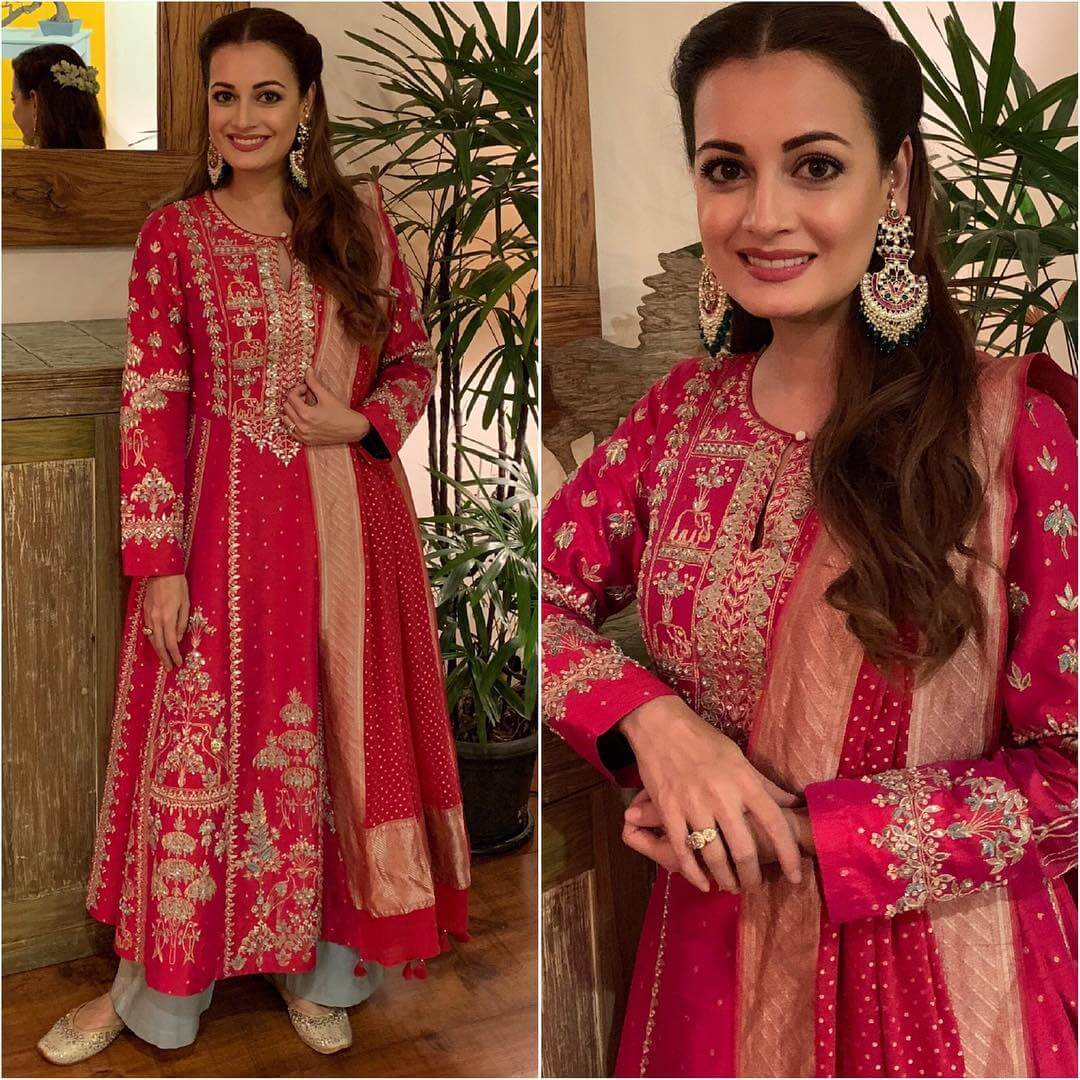Pretty Pink Anarkali with Pants Latest Bollywood Inspired Diwali Outfits