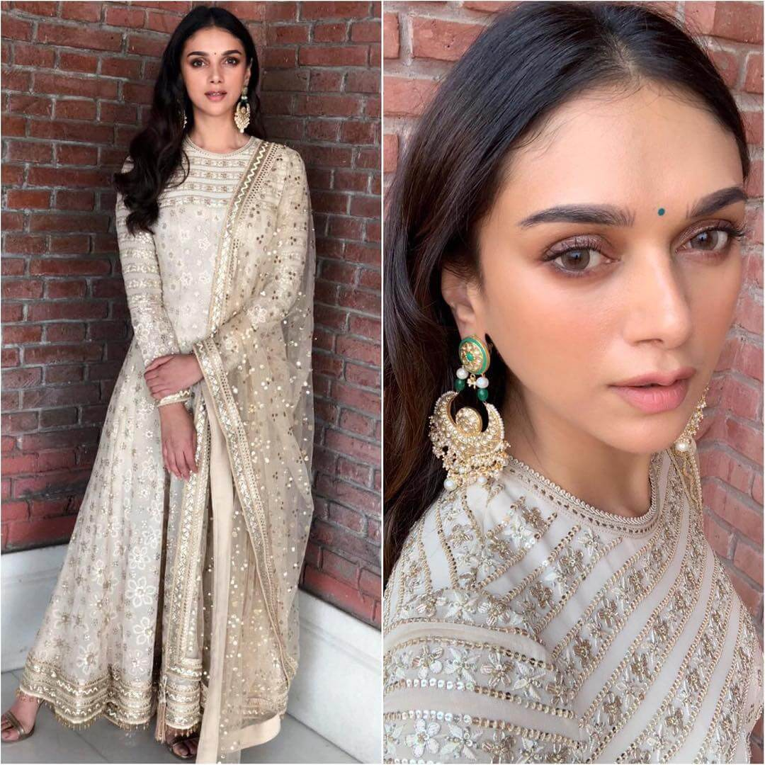 Glittering White Anarkali Latest Bollywood Inspired Diwali Outfits