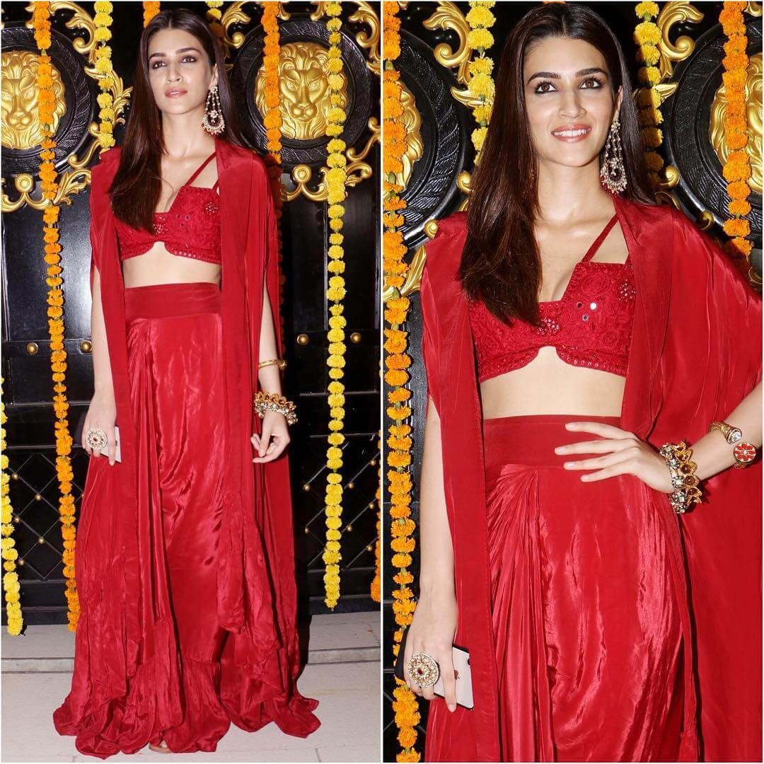 Stylish Red Sharara with Crop top Latest Bollywood Inspired Diwali Outfits