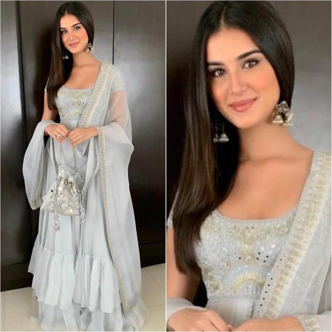 Layered Powder Blue Sharara Latest Bollywood Inspired Diwali Outfits