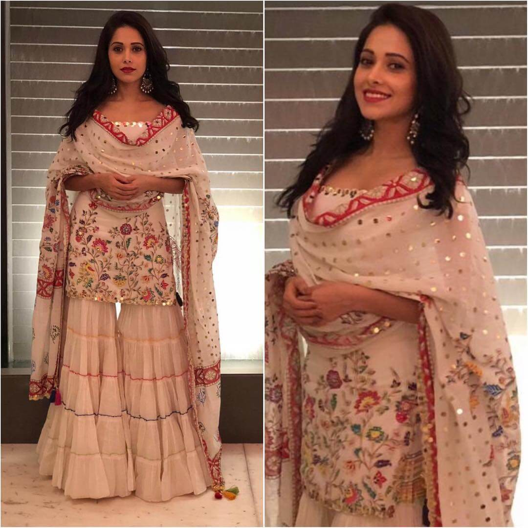Mirrorwork White Embroidered Sharara Latest Bollywood Inspired Diwali Outfits