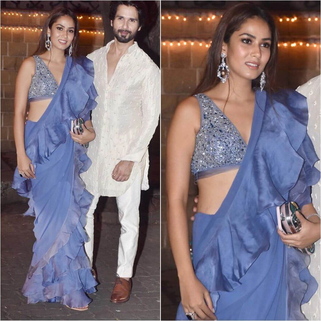 Blue Ruffle Saree Latest Bollywood Inspired Diwali Outfits