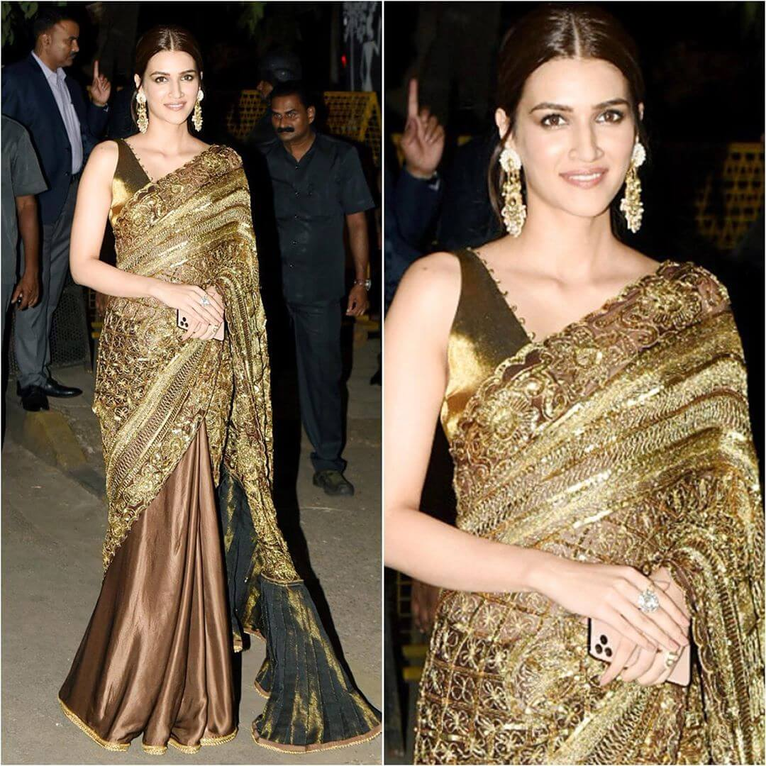 Alluring Golden Beauty Saree Latest Bollywood Inspired Diwali Outfits