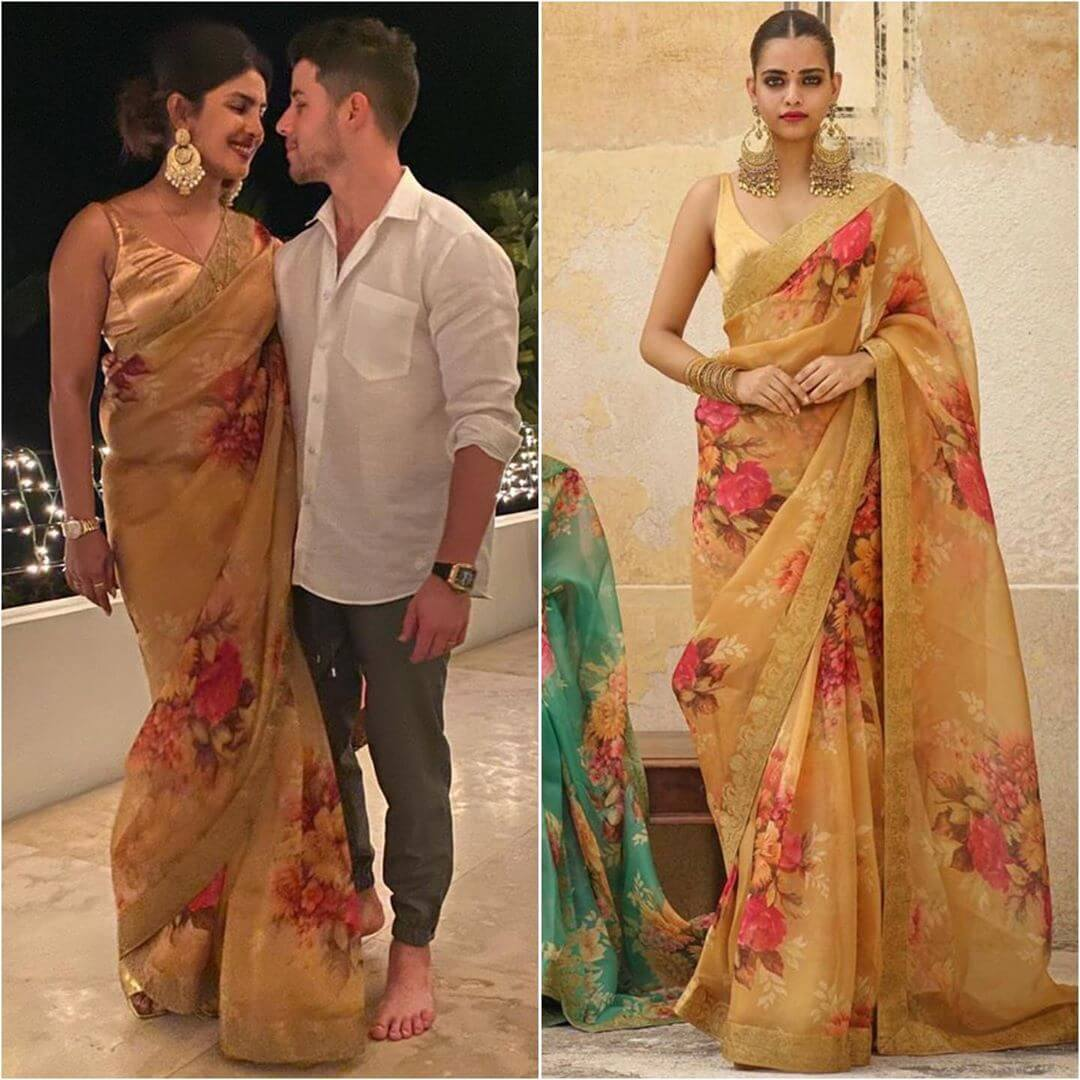 Designer Floral Yellow Saree Latest Bollywood Inspired Diwali Outfits