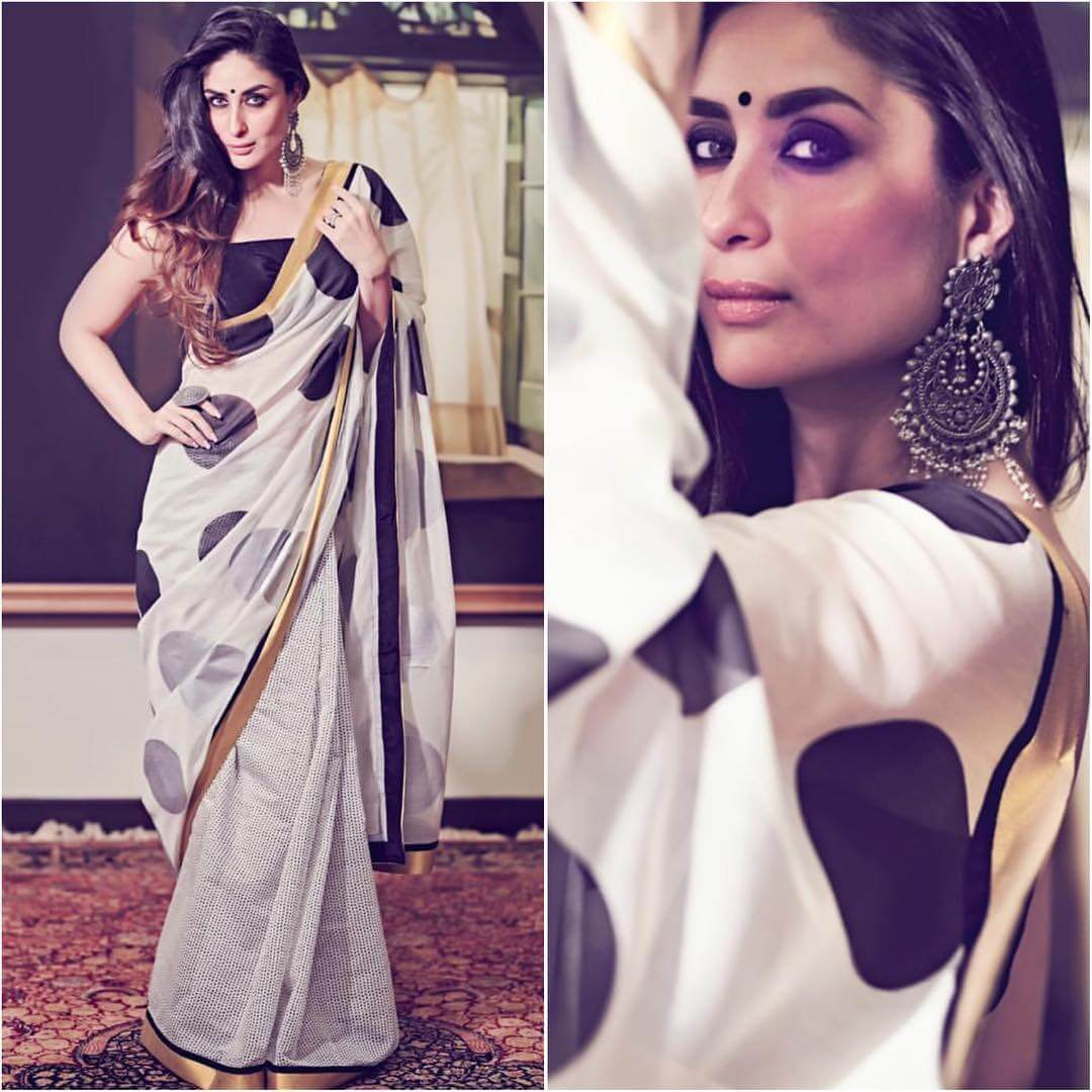 Vintage Black and White Saree Latest Bollywood Inspired Diwali Outfits