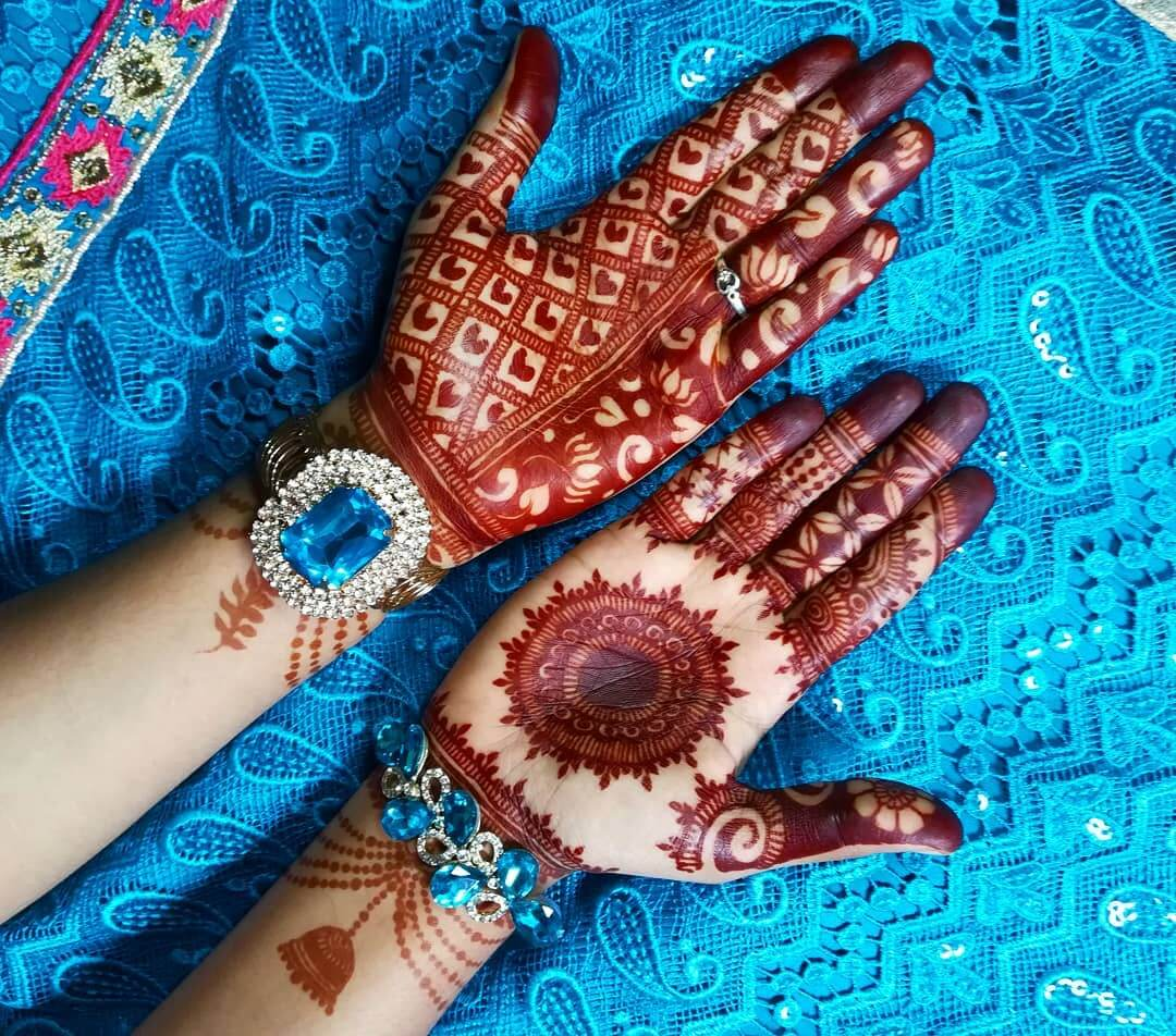 Lotus And Hearts Mehndi Design For Front Hand