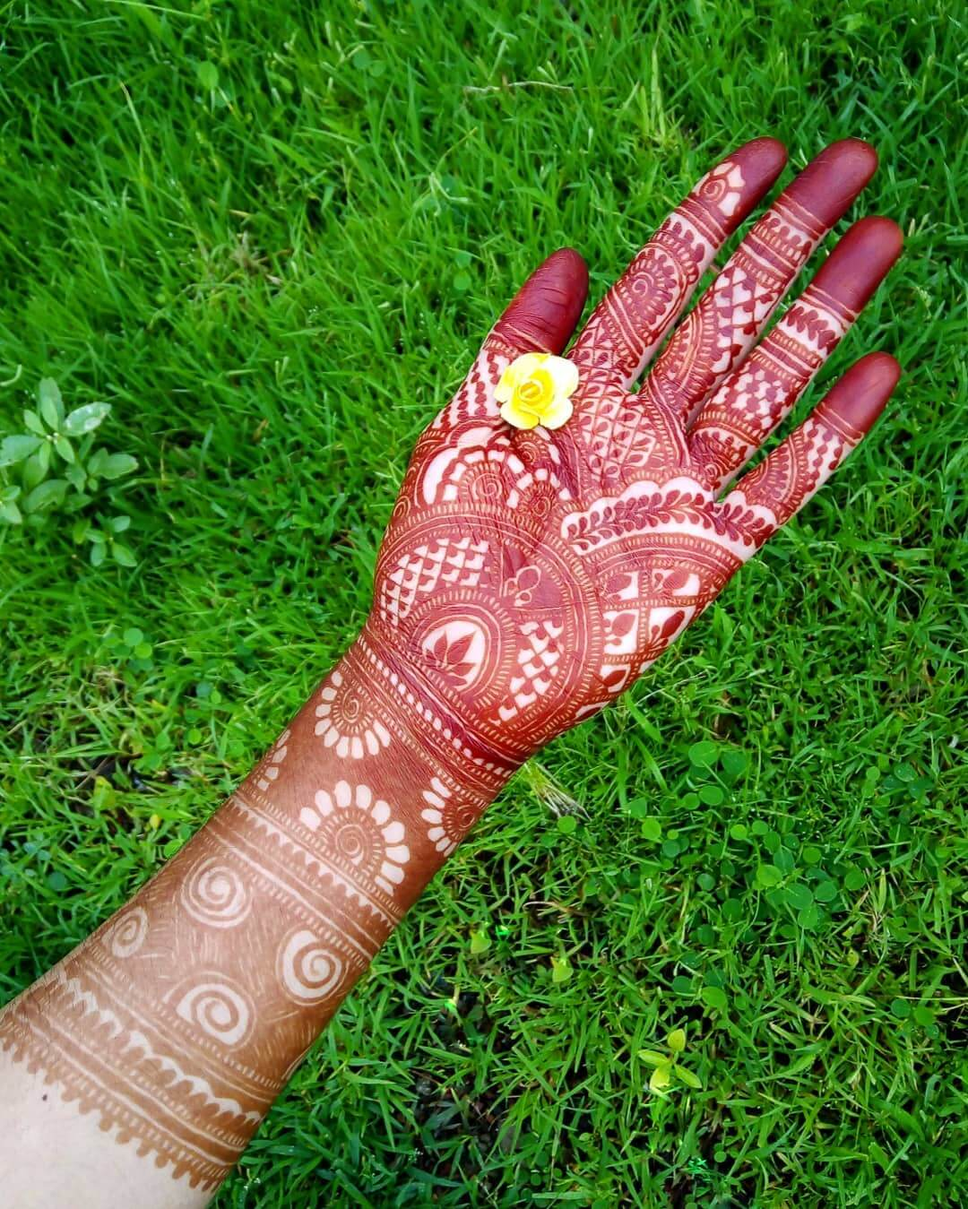 Vines And Leaves Mehndi Design For Front Hand