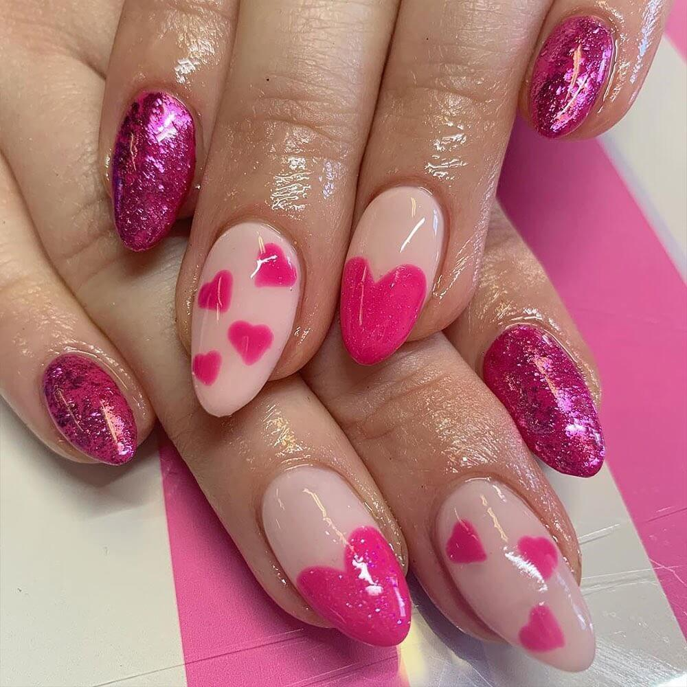 Pink gel polish heart Nail Art Designs